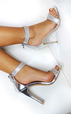 View the Vera Diamante Chrome Strap Barely There Heels online at iKrush