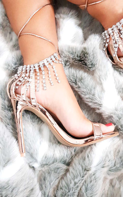 View the Sasha Barely There Diamante Lace Up Heels online at iKrush