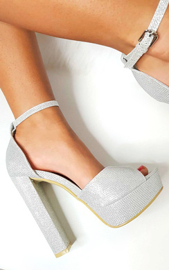 View the Kirti Peep Toe Block High Heels  online at iKrush
