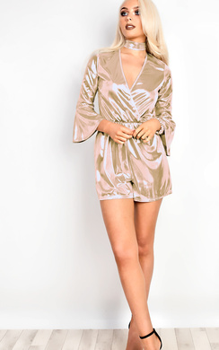 View the Billie Metallic Choker Neck Playsuit online at iKrush