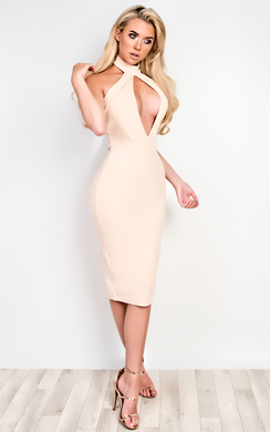 View the Alya Choker Neck Bodycon Dress online at iKrush