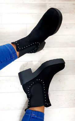 View the Faye Studded Chelsea Faux Suede Ankle Boots online at iKrush