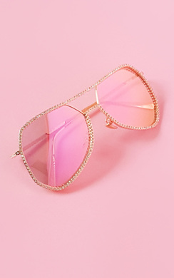 View the Loris Rose Gold Diamonte Trim Aviator Sunglasses online at iKrush