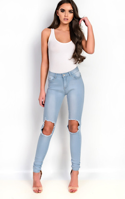 View the Cassidy Skinny Ripped Knee Jeans online at iKrush
