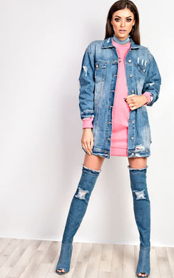 View the Hrush Distressed Denim Jacket  online at iKrush