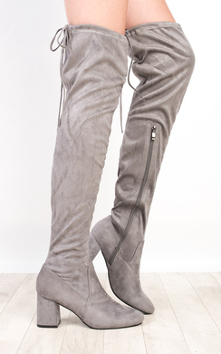 View the Presley Faux Suede Knee High Boots  online at iKrush