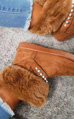 View the Carla Faux Fur Platform Embellished Boots online at iKrush