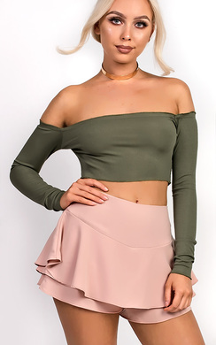 View the Haley Ribbed Long Sleeved Crop Top online at iKrush