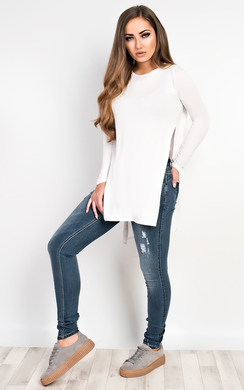 View the Laila Basic Side Split Casual Top online at iKrush
