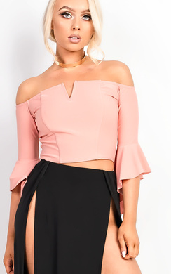 View the Shelly Bardot Frilled Sleeve Crop Top online at iKrush