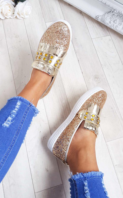 View the Konnie Sequin Gem Slip On Trainers online at iKrush