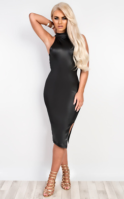 View the Claudia Faux Leather Bodycon Dress online at iKrush