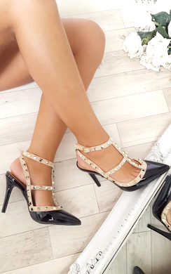 View the Andrea Multi Strap T-Bar Studded Court Heels online at iKrush