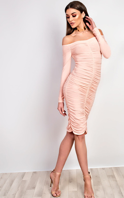 View the Nicola Ruched Bodycon Dress online at iKrush