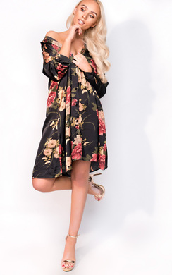 View the Melody Oversize Satin Floral Shirt Dress online at iKrush