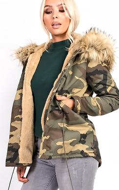 View the Karla Faux Fur Camo Parka online at iKrush