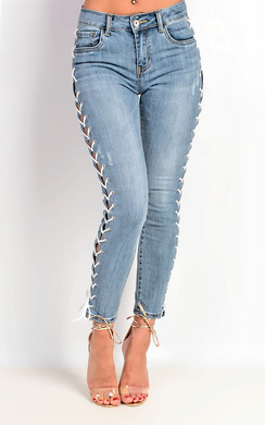 View the Kelly Mid Rise Lace Up Jeans online at iKrush