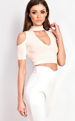 View the Zerin Cold Shoulder Choker Crop Top online at iKrush