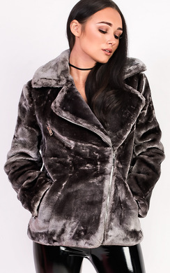 View the Rayana Oversized Faux Fur Jacket online at iKrush