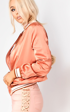 View the Jessy Satin Bomber Jacket online at iKrush