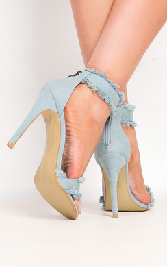 View the Colette Denim Frayed Sandal Heels online at iKrush