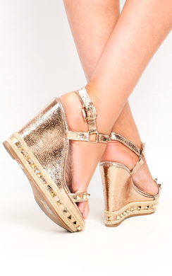 View the Claudia Stud Strappy Wedge Sandals online at iKrush