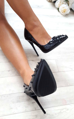 View the Alessandra Studded Court Heels online at iKrush