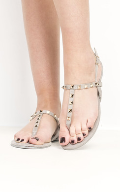 View the Christy Faux Suede Studded Sandals online at iKrush