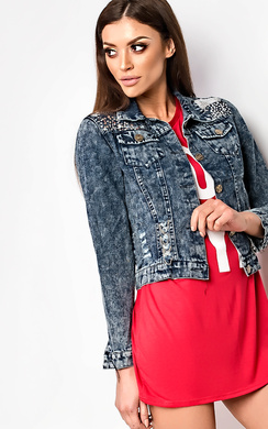 View the Sonya Distressed Denim Jacket  online at iKrush