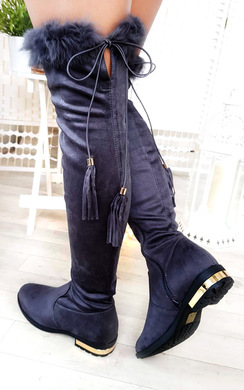 View the Anah Faux Suede Fluffy Tassel Knee High Boots online at iKrush