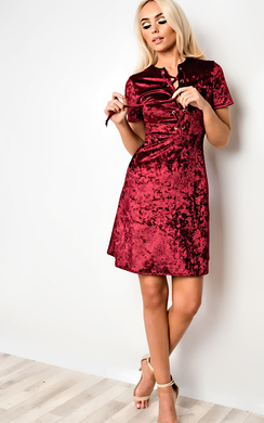 View the Angelina Velour Skater Dress online at iKrush