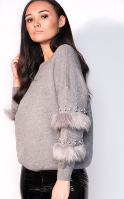 View the Reese Faux Fur Embellished Panel Knitted Dress online at iKrush