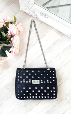View the Sally Quilted Studded Shoulder Chain Bag online at iKrush