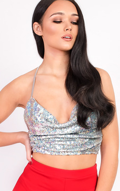 View the Karmen Sequin Tie Top online at iKrush
