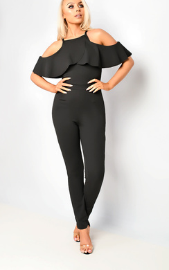 View the Emy Cold Shoulder Frill Jumpsuit online at iKrush