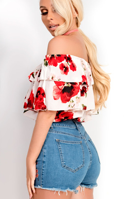 View the Rosanna Bardot Floral Frill Top  online at iKrush