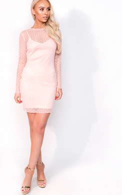 View the Robyn Polka Dot Mesh Dress online at iKrush