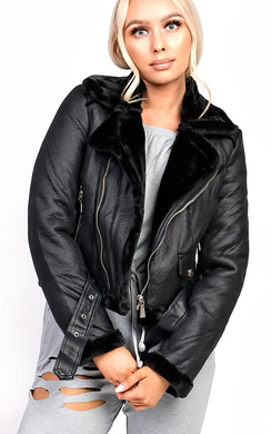 View the Lizzie Biker Faux Leather Fur Jacket online at iKrush