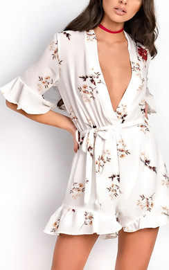 View the Lexie Floral Frill Playsuit online at iKrush