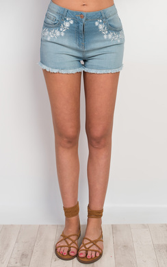 View the Pacey Embroidered Denim Shorts online at iKrush