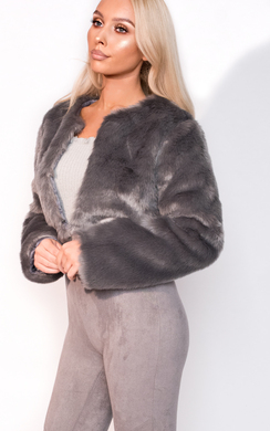View the Lola Faux Fur Cropped Jacket online at iKrush