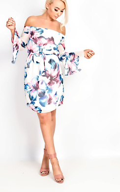 View the Spring Bardot Flute Sleeve Floral Dress online at iKrush