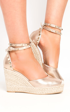View the Alissa Studded Ankle Strap Espadrille Wedges online at iKrush