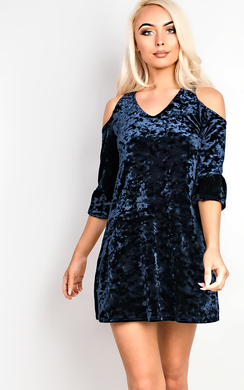 View the Briley Velour Cold Shoulder Dress online at iKrush