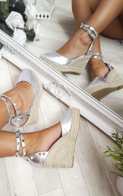 View the Hetti Studded Ankle Strap Espadrille Wedges online at iKrush