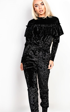View the Malia Frill Crushed Velvet Jogger Set online at iKrush