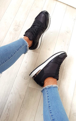 View the Karrie Shimmer Lace Up Trainers online at iKrush