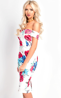 View the Una Bardot Floral Midi Dress online at iKrush