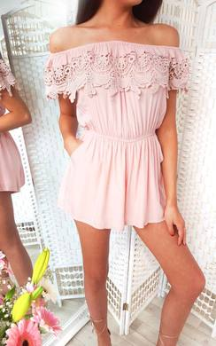 View the Justina Off Shoulder Crochet Playsuit online at iKrush