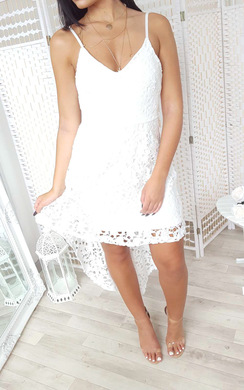 View the Katy Dipped Hem Crochet Dress  online at iKrush